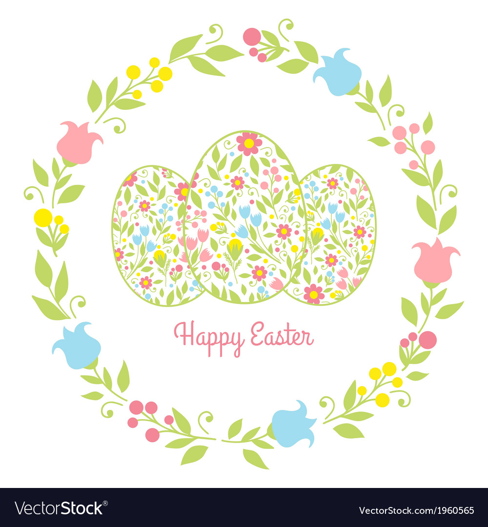 Card easter eggs with flowers vector | Price: 1 Credit (USD $1)