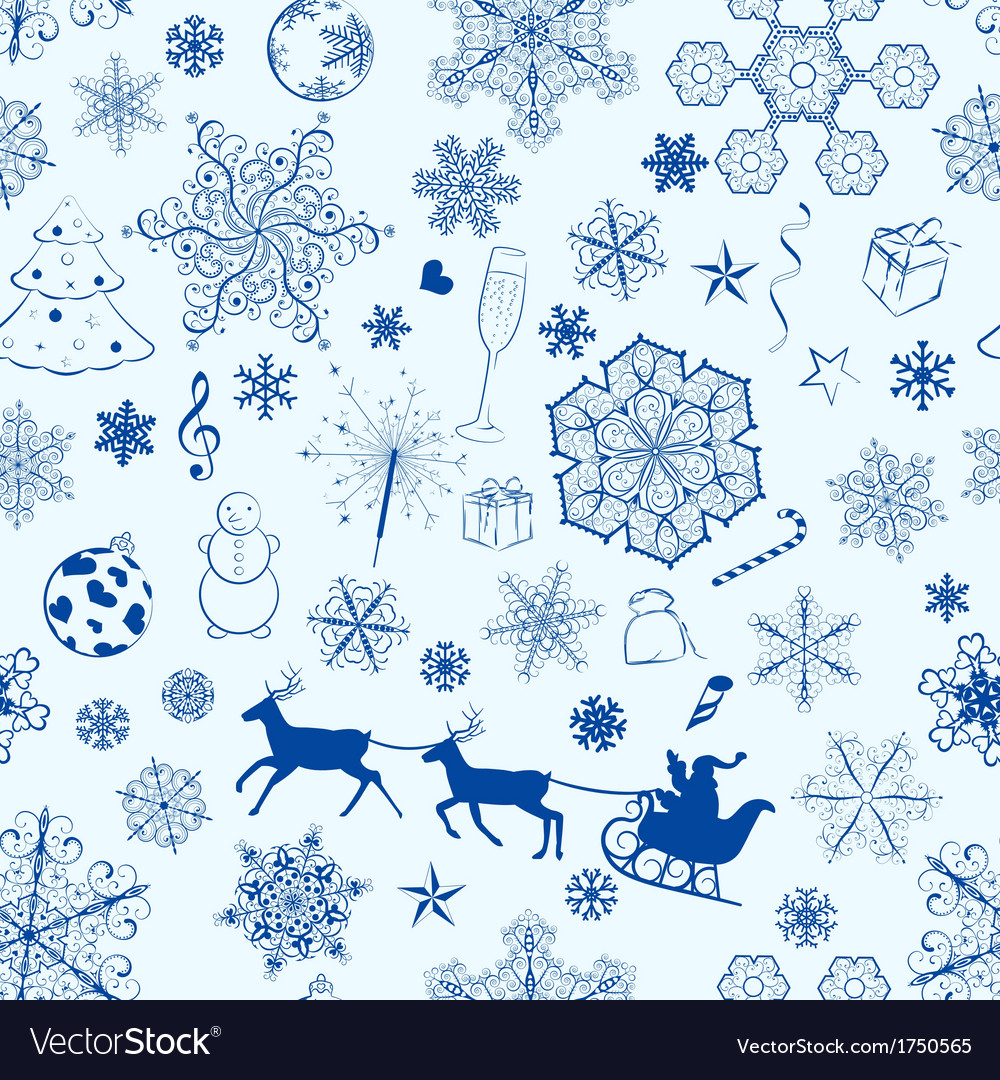 Christmas seamless blue pattern vector | Price: 1 Credit (USD $1)