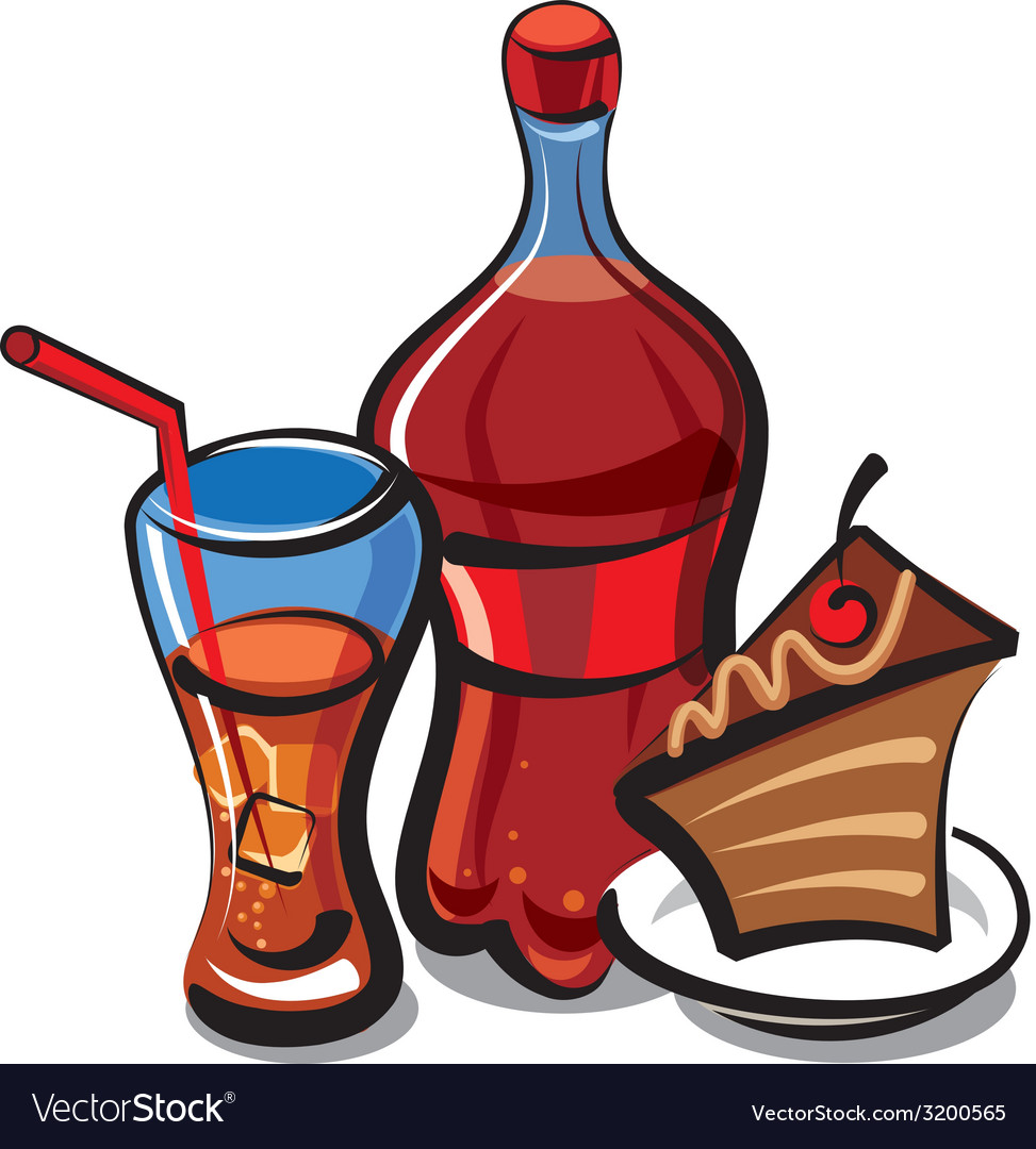 Cola and cake vector | Price: 1 Credit (USD $1)