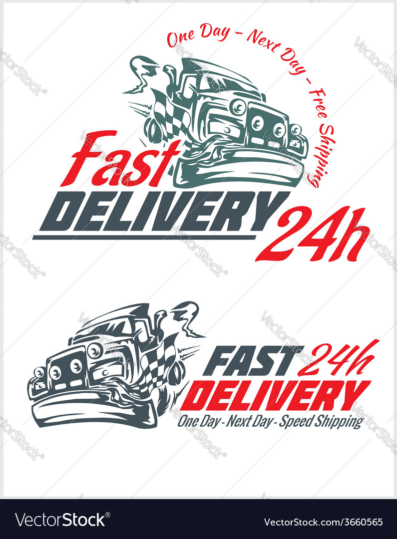 Delivery elements gray and red shipping signs vector | Price: 1 Credit (USD $1)