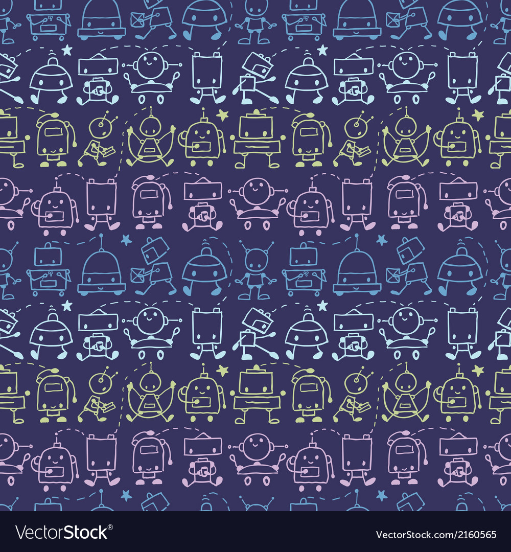 Doodle robots stripes seamless pattern background vector | Price: 1 Credit (USD $1)