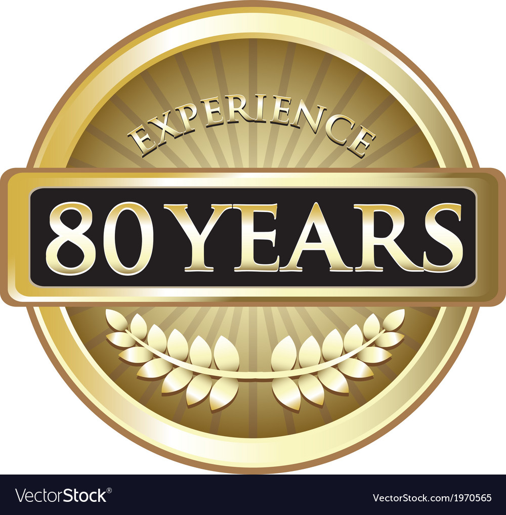 Eighty years experience gold vector | Price: 1 Credit (USD $1)