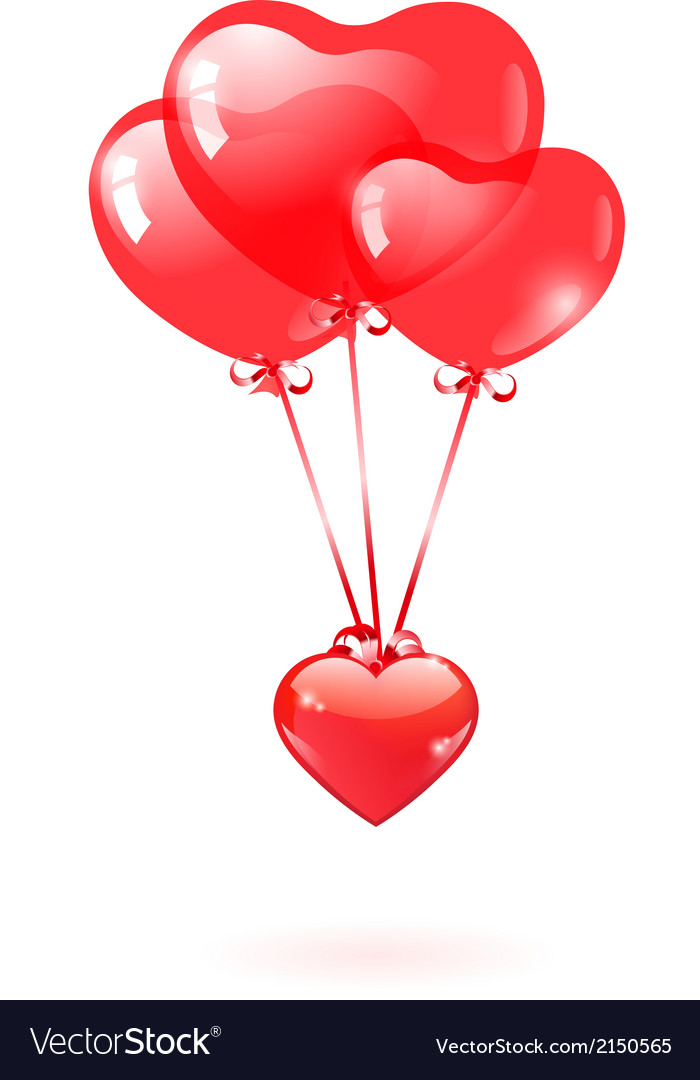Glossy heart with a red heart-shaped balloon vector   Price: 1 Credit (USD $1)