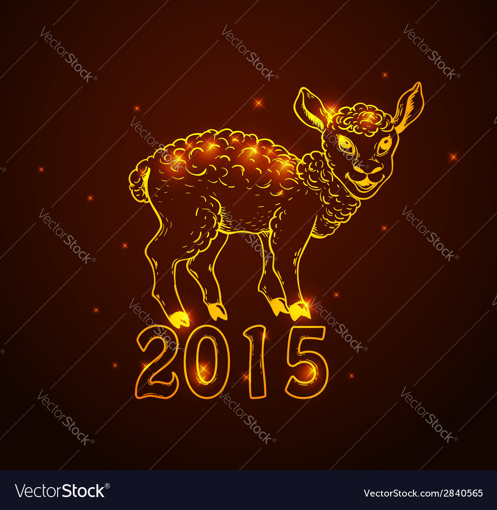 Hand drawn new year card with sheep vector | Price: 1 Credit (USD $1)