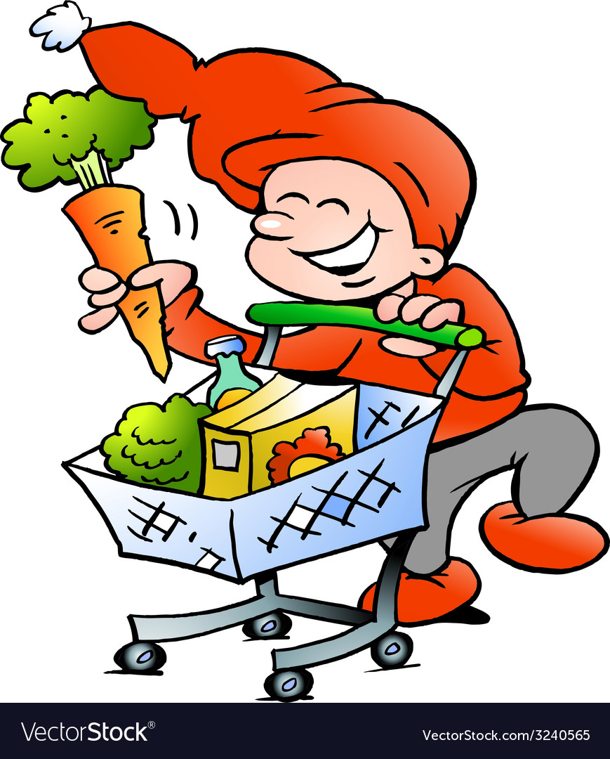 Hand-drawn of an happy christmas elf on shopping vector | Price: 1 Credit (USD $1)