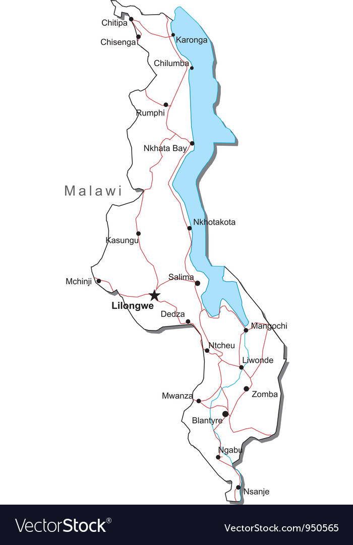 Malawi black white map vector | Price: 1 Credit (USD $1)