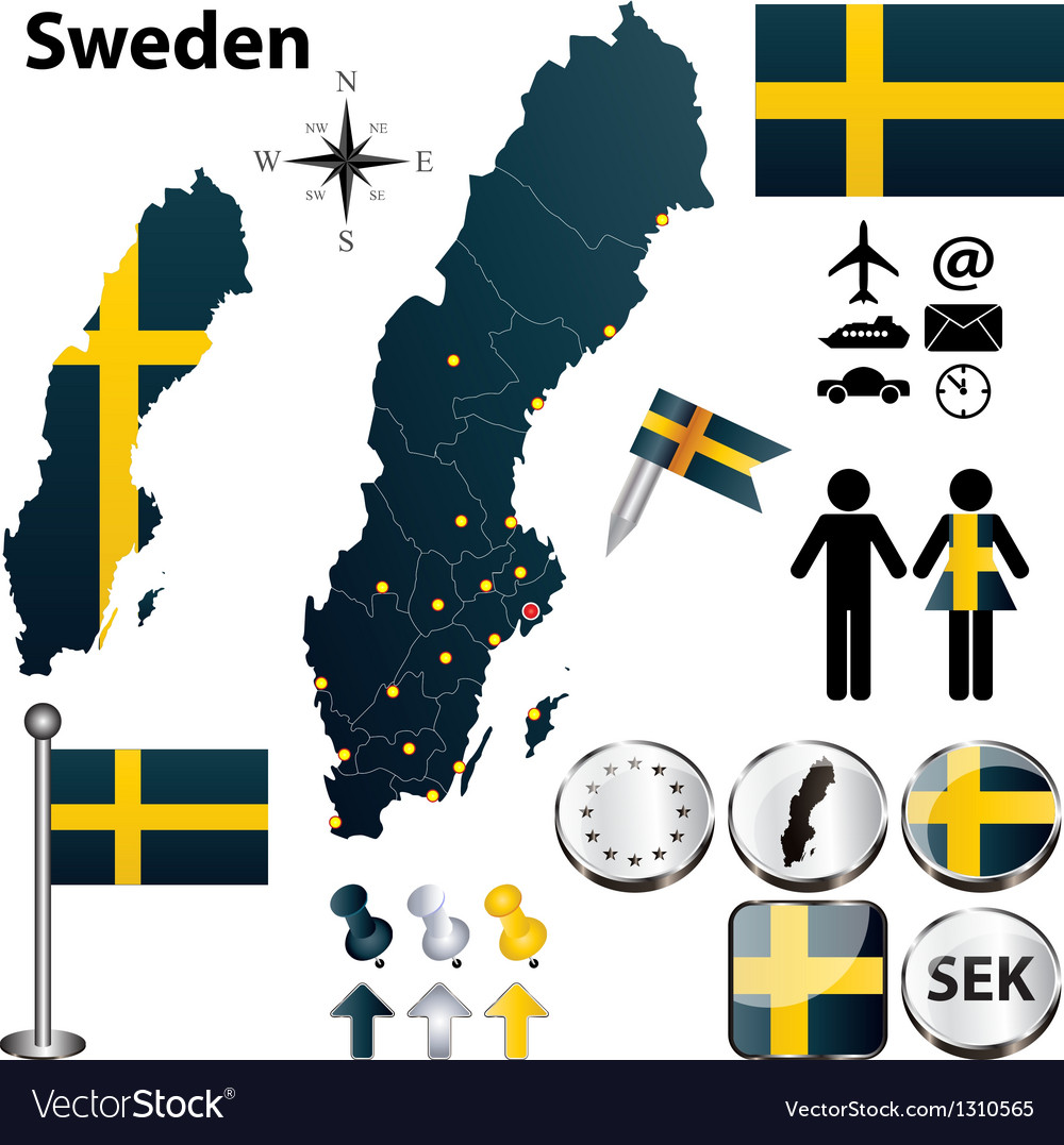Map of sweden with regions vector | Price: 1 Credit (USD $1)