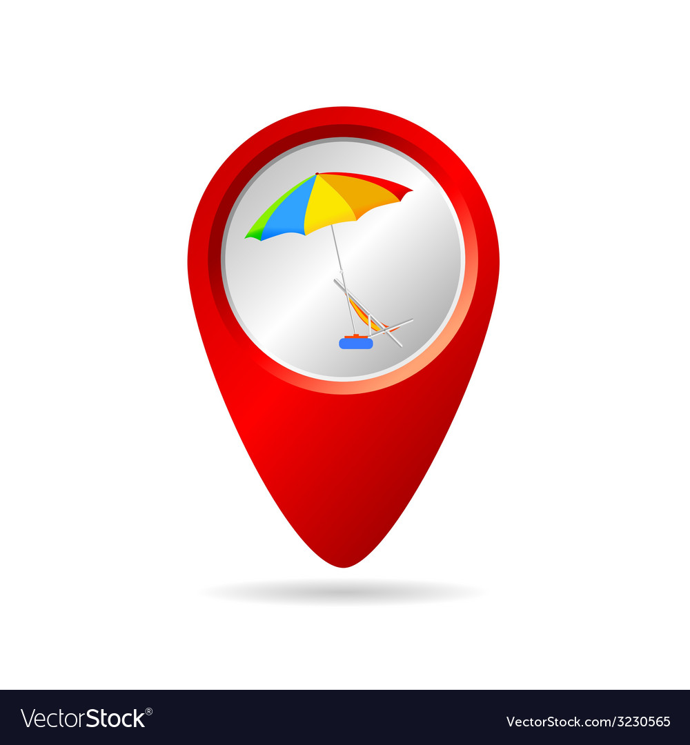 Map pionter with symbol for beach vector | Price: 1 Credit (USD $1)