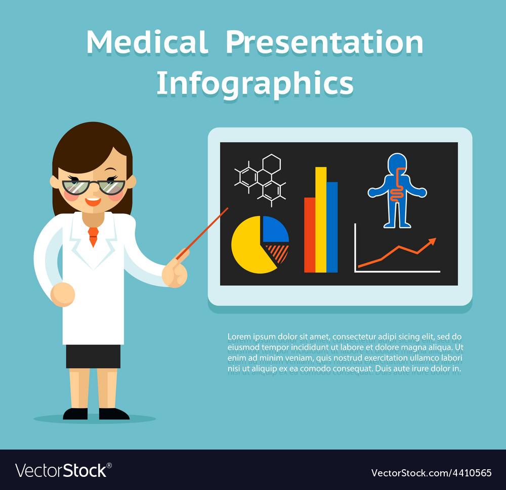 Medical infographics presentation female doctor vector | Price: 1 Credit (USD $1)