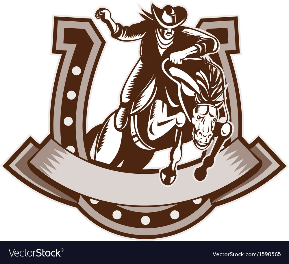 Rodeo cowboy riding bronco horse horseshoe vector | Price: 1 Credit (USD $1)