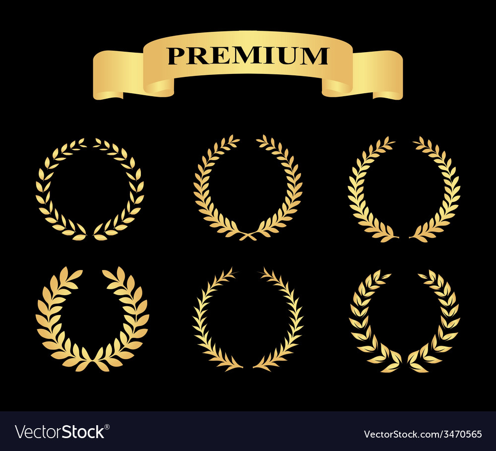 Set of golden silhouette circular laurel foliate vector | Price: 1 Credit (USD $1)