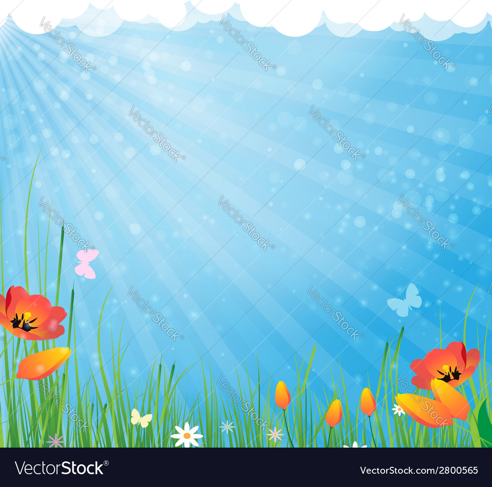 Sun and flowers vector | Price: 1 Credit (USD $1)