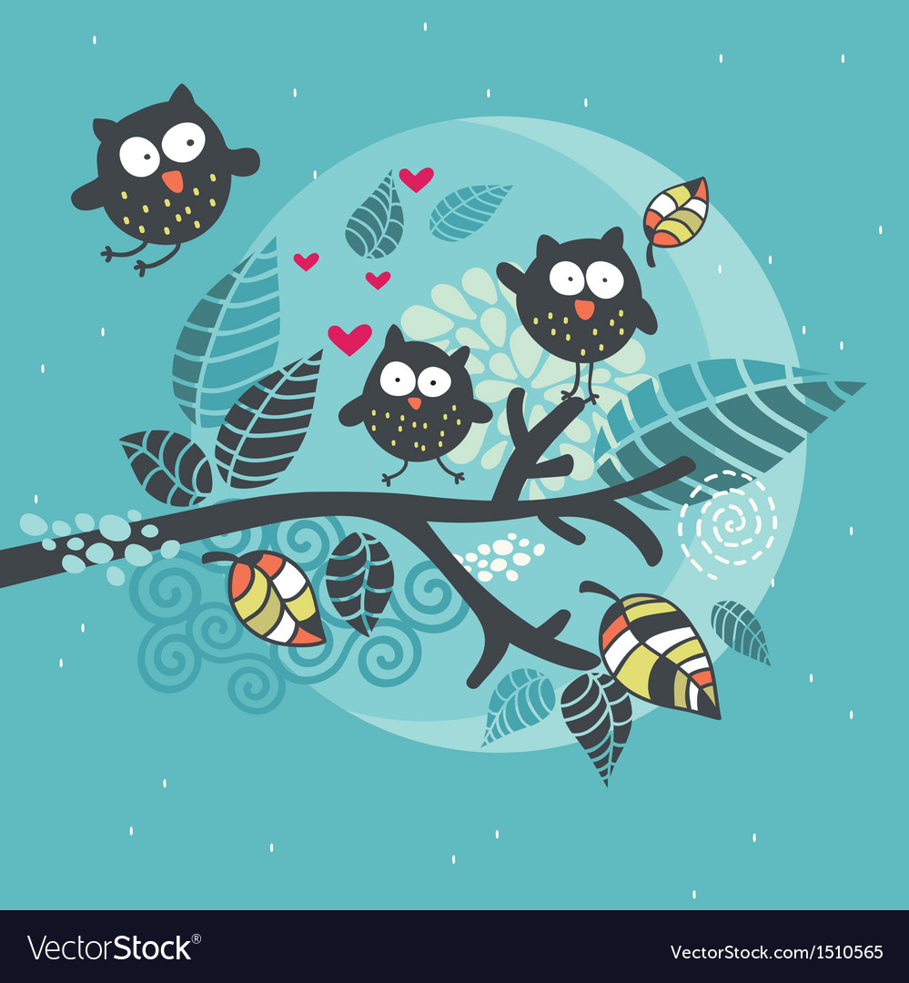 Three crazy owls on the brunch vector | Price: 1 Credit (USD $1)