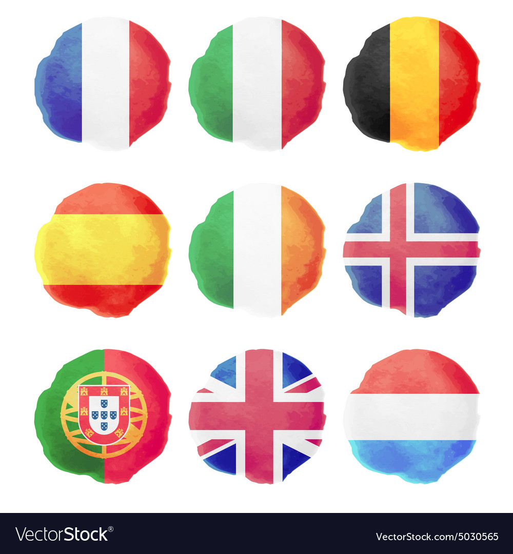 Watercolor flags part i vector