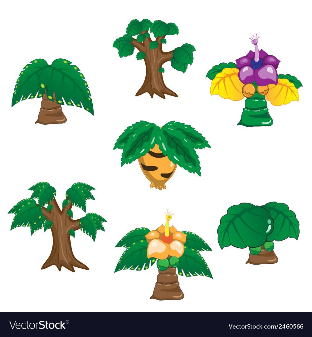 Ancient trees cartoon on white background vector | Price: 1 Credit (USD $1)
