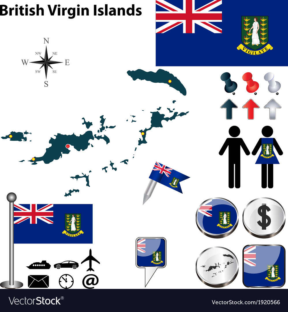 British virgin islands map vector | Price: 1 Credit (USD $1)