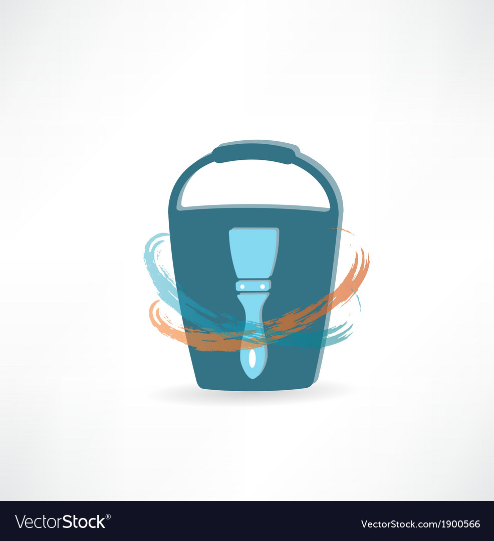 Bucket with brush icon vector | Price: 1 Credit (USD $1)