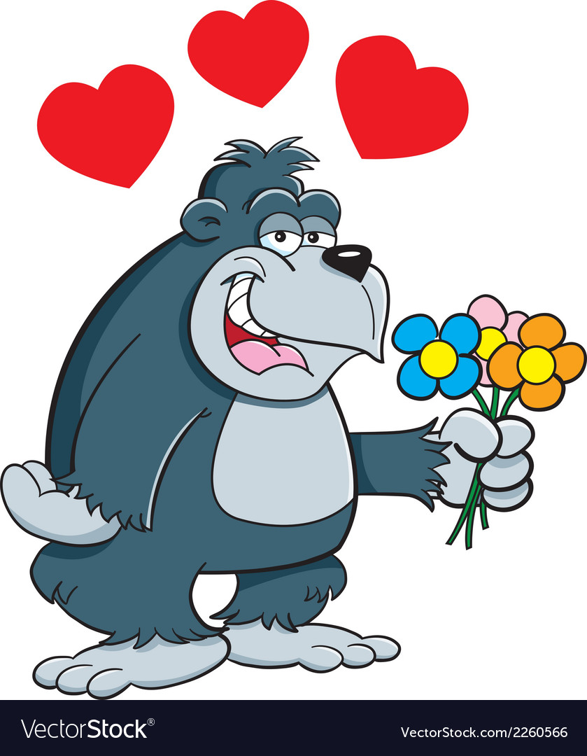 Cartoon gorilla with flowers vector | Price: 1 Credit (USD $1)