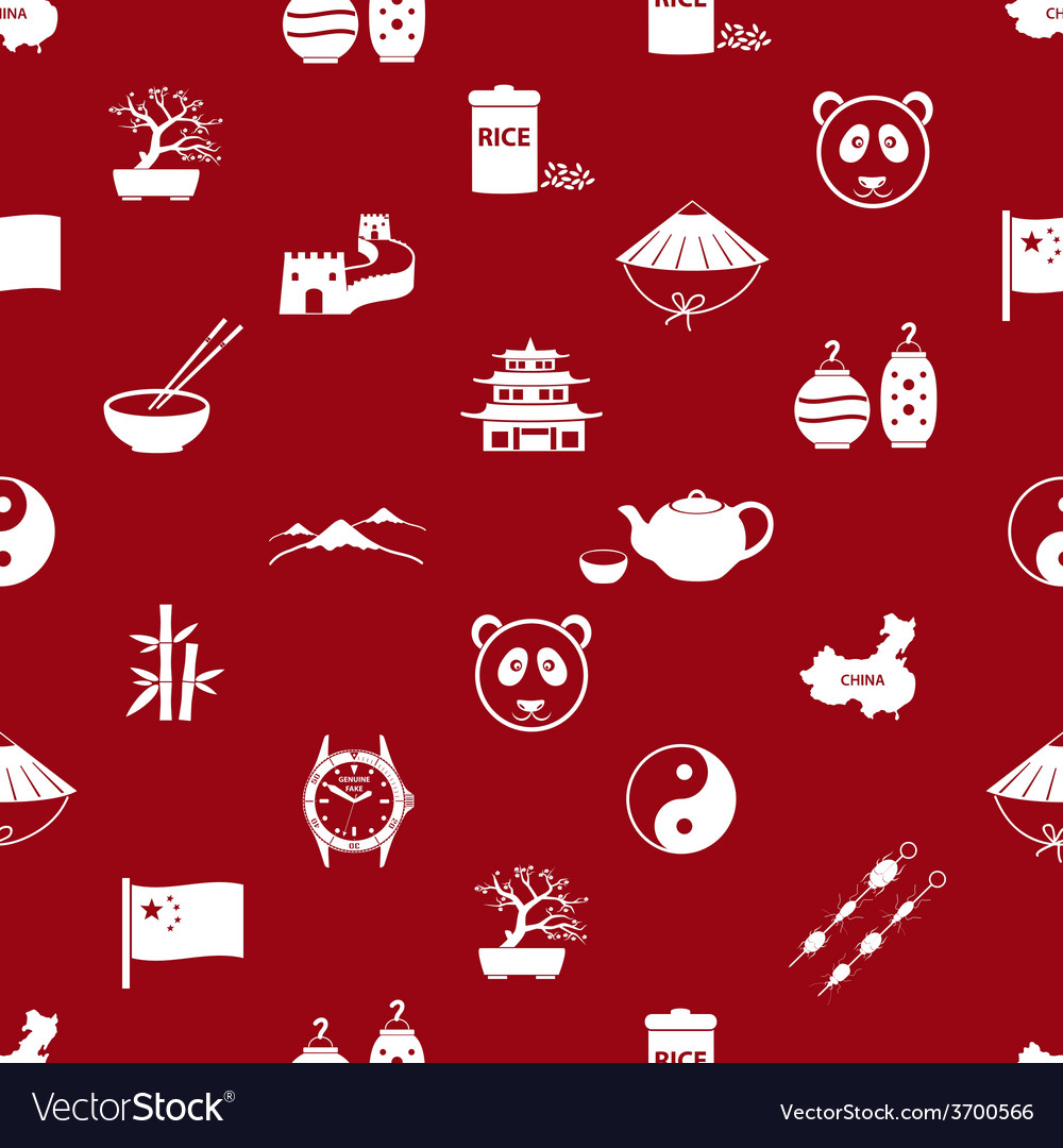 China theme icons white and red seamless pattern vector | Price: 1 Credit (USD $1)
