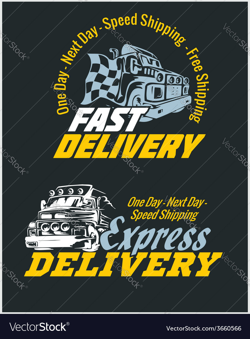 Delivery elements yellow and white signs labels vector | Price: 1 Credit (USD $1)