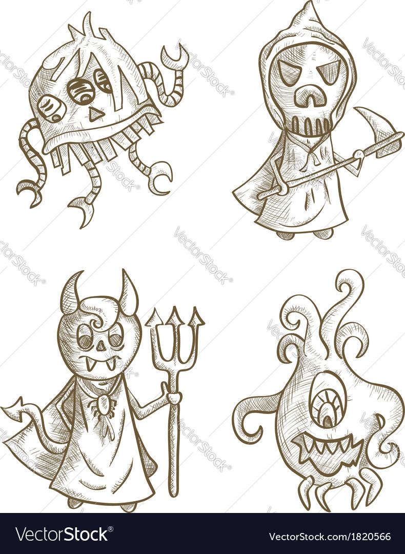 Halloween monsters isolated spooky cartoon vector | Price: 1 Credit (USD $1)