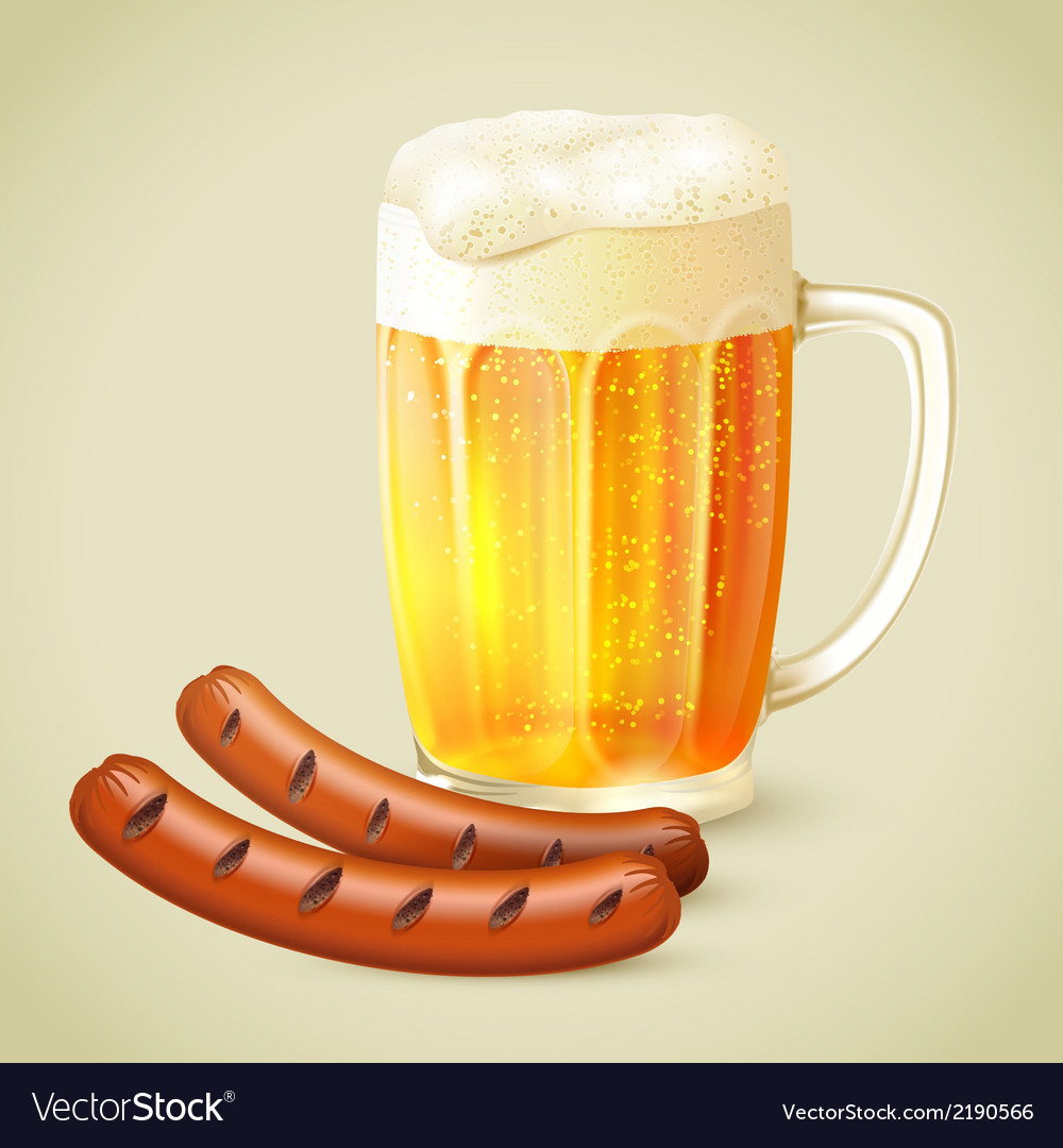 Light beer and grilled sausage emblem vector | Price: 1 Credit (USD $1)