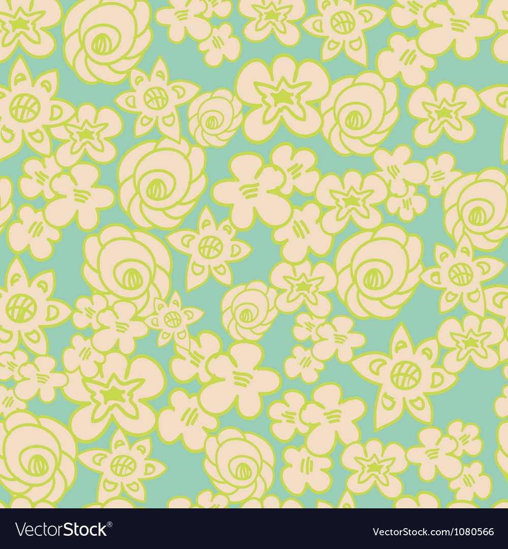 Ornate floral endless blue pattern vector | Price: 1 Credit (USD $1)