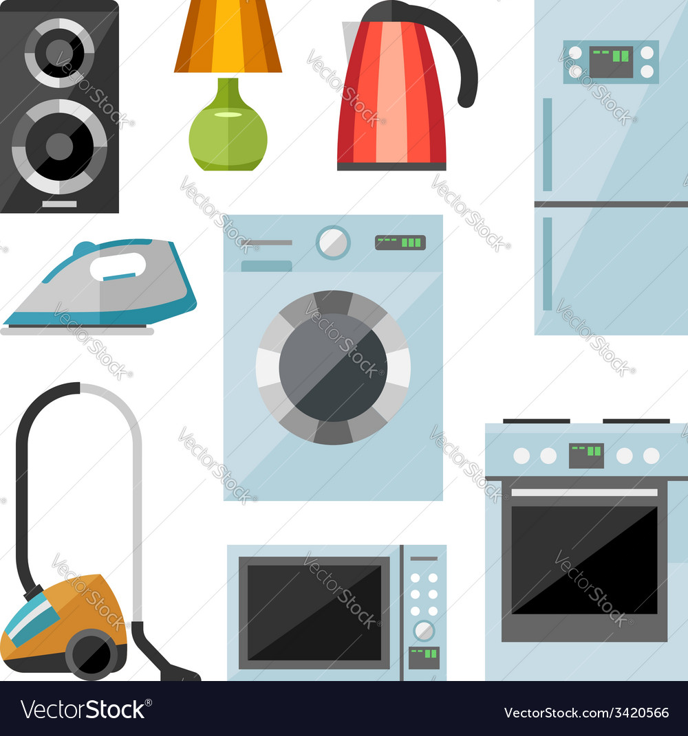 Set of household appliances flat icons vector | Price: 1 Credit (USD $1)