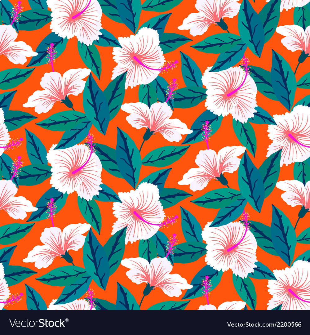 Tropical pattern with white hibiscus flowers vector | Price: 1 Credit (USD $1)