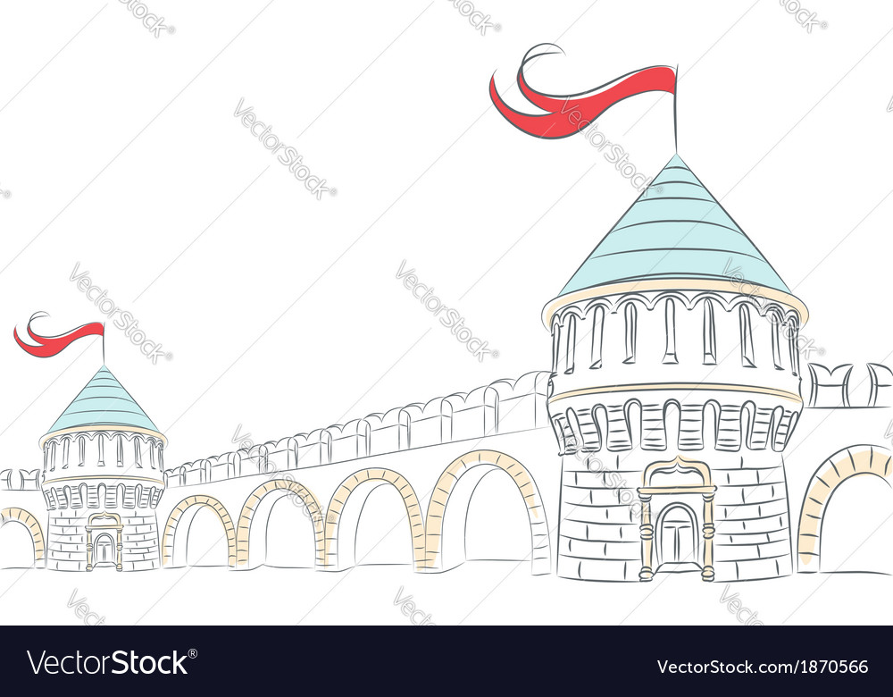Walls and towers of a medieval castle vector | Price: 1 Credit (USD $1)