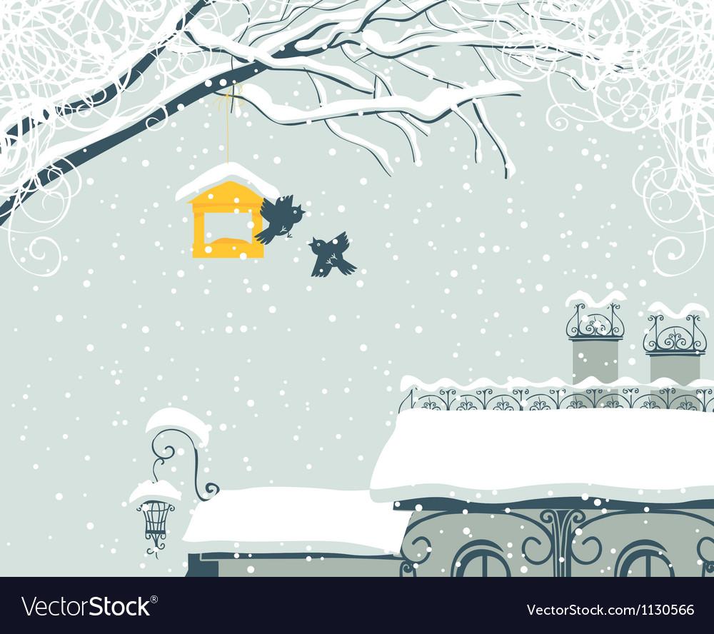 Winter city landscape vector | Price: 1 Credit (USD $1)