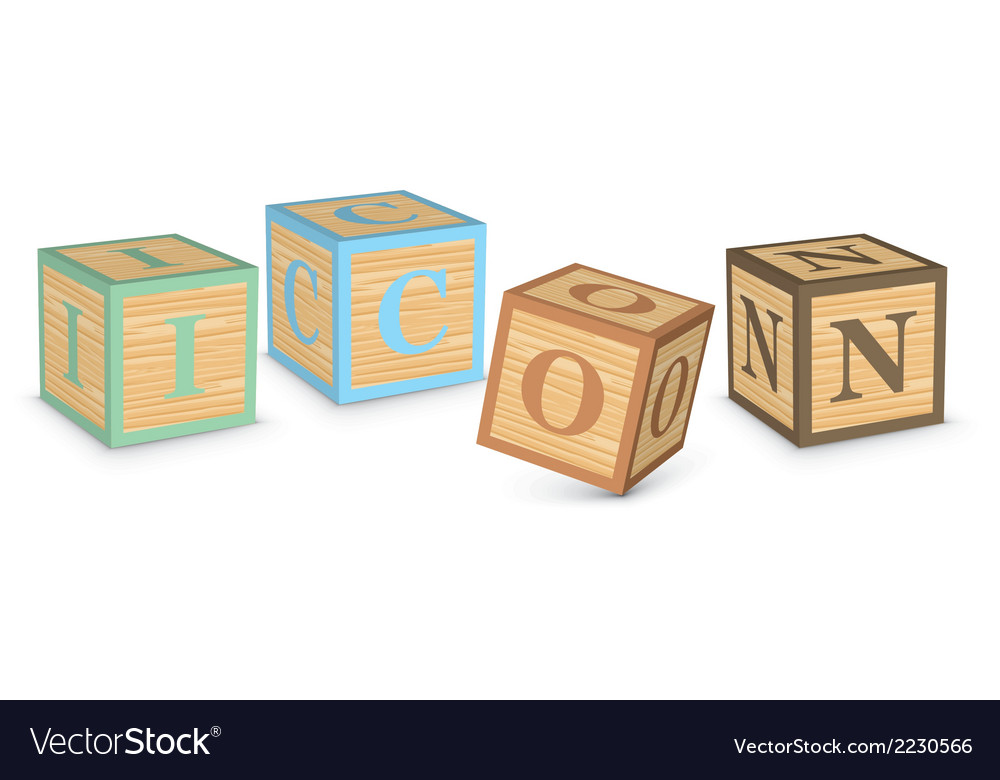 Word icon written with alphabet blocks vector | Price: 1 Credit (USD $1)