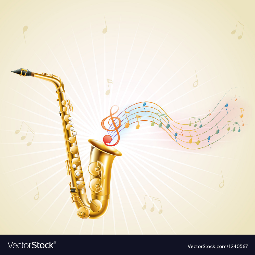 A saxophone with musical notes vector | Price: 1 Credit (USD $1)