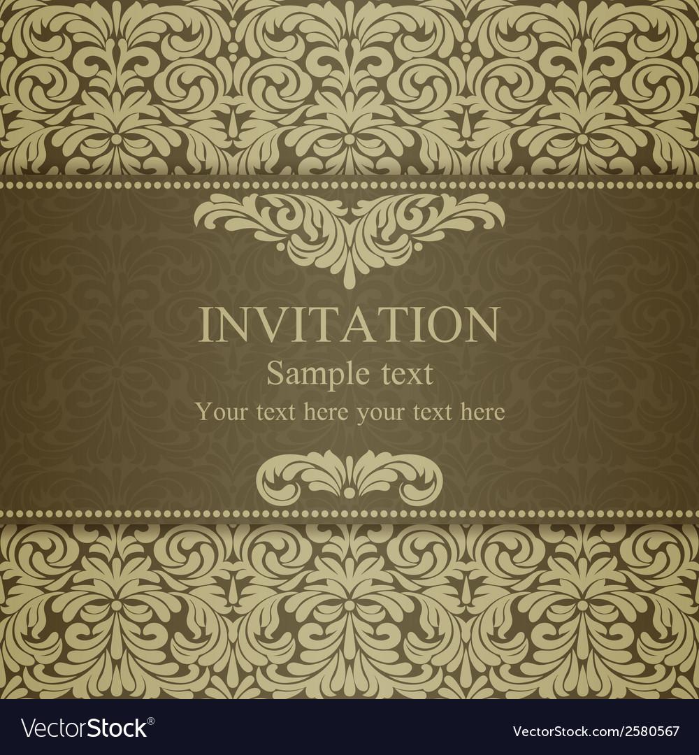 Baroque invitation dull gold vector | Price: 1 Credit (USD $1)
