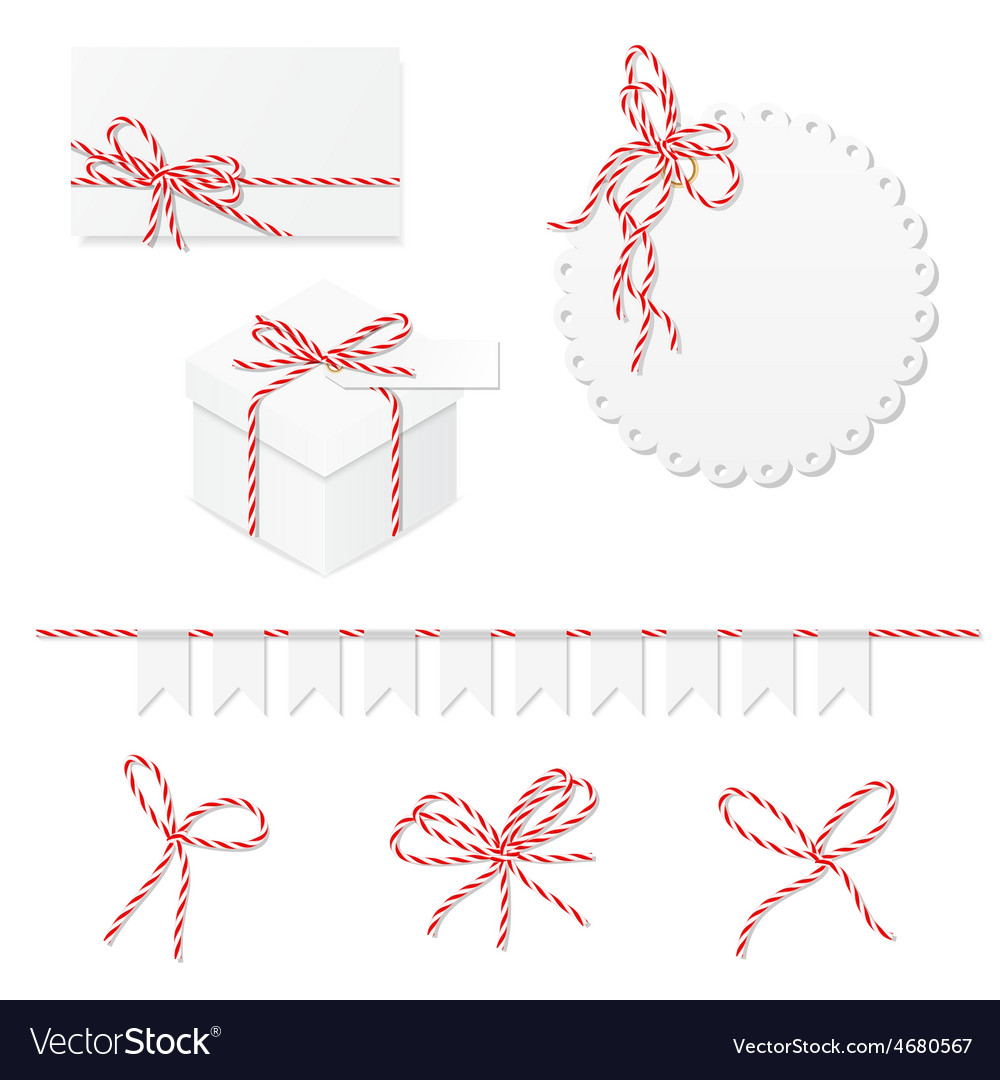 Celebration set with bakers twine bows vector | Price: 3 Credit (USD $3)