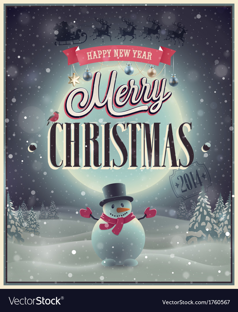 Christmas poster with snowman vector | Price: 1 Credit (USD $1)