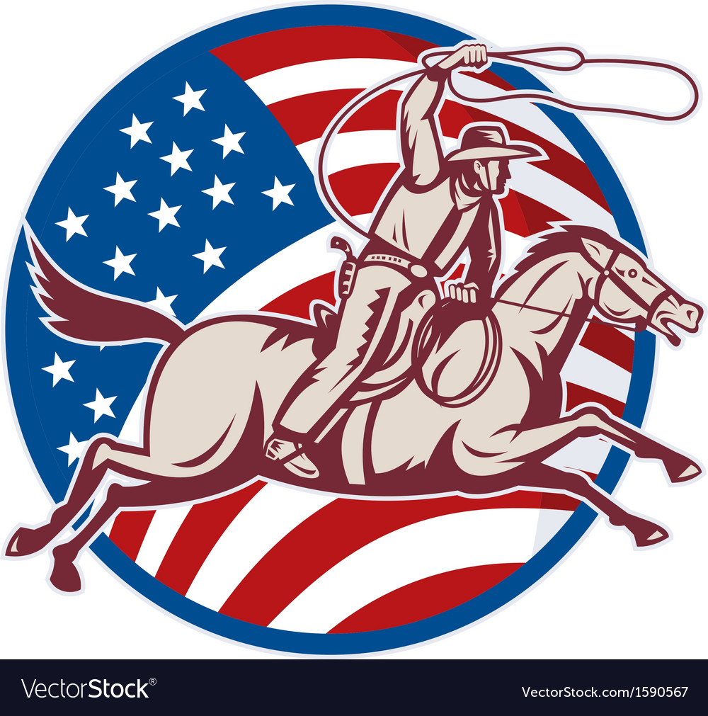 Cowboy riding horse with lasso and american flag vector | Price: 1 Credit (USD $1)