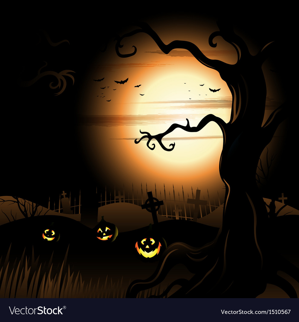 Creepy tree halloween background with full moon vector | Price: 3 Credit (USD $3)