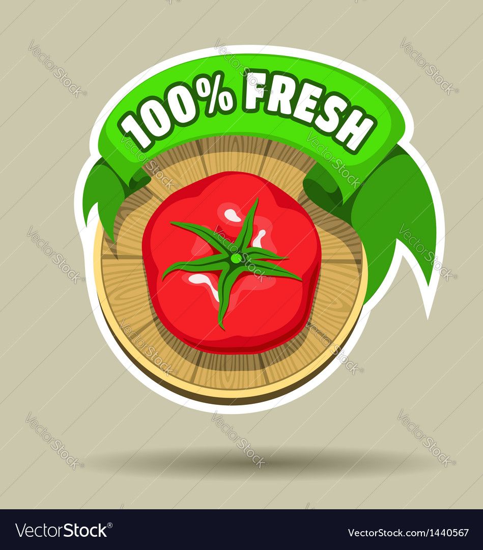 Fresh tomato sticker vector | Price: 1 Credit (USD $1)