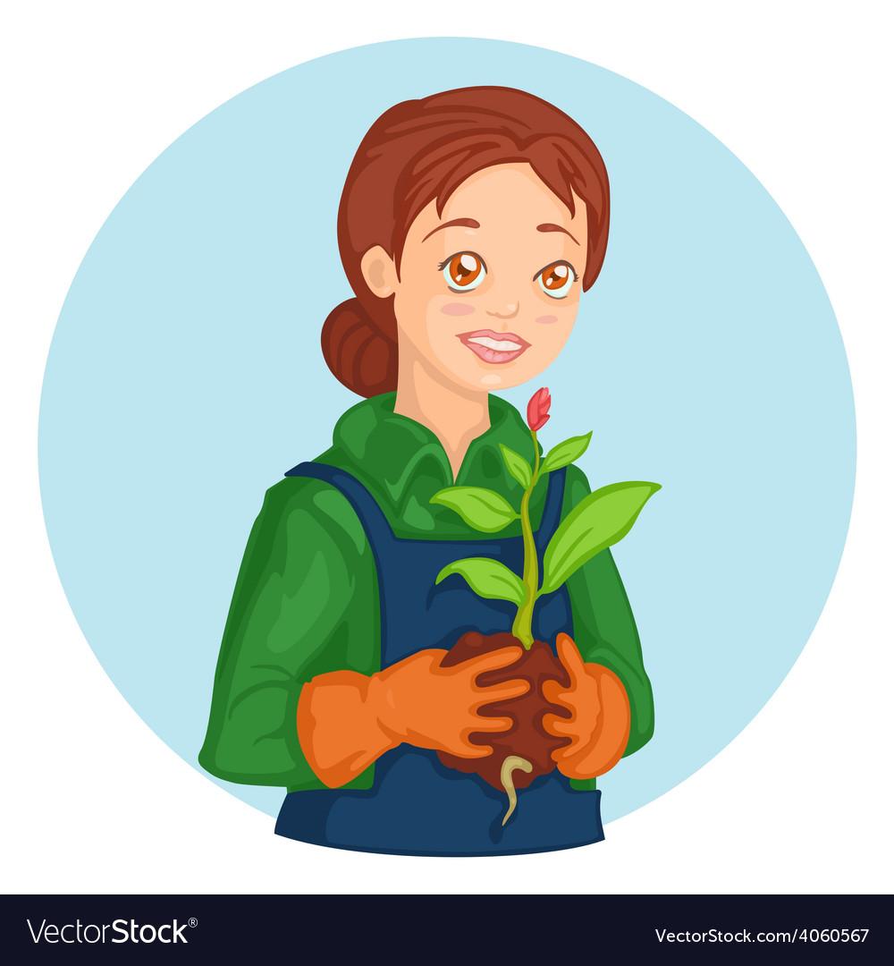 Gardener girl vector | Price: 1 Credit (USD $1)