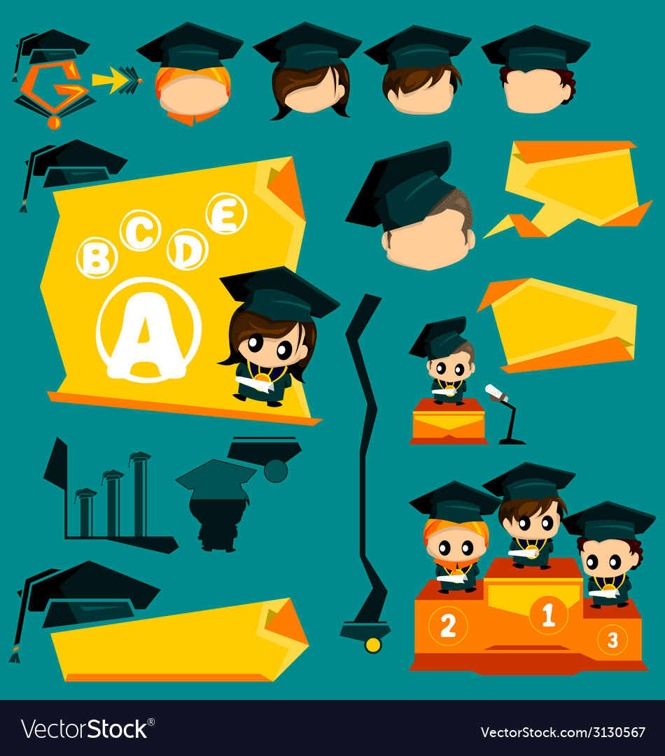 Graduation infographic and mascot vector | Price: 1 Credit (USD $1)