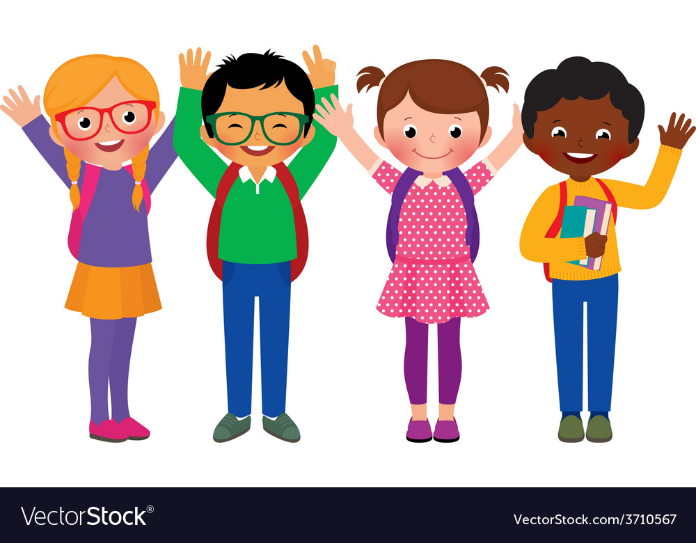 Group of children students vector | Price: 1 Credit (USD $1)