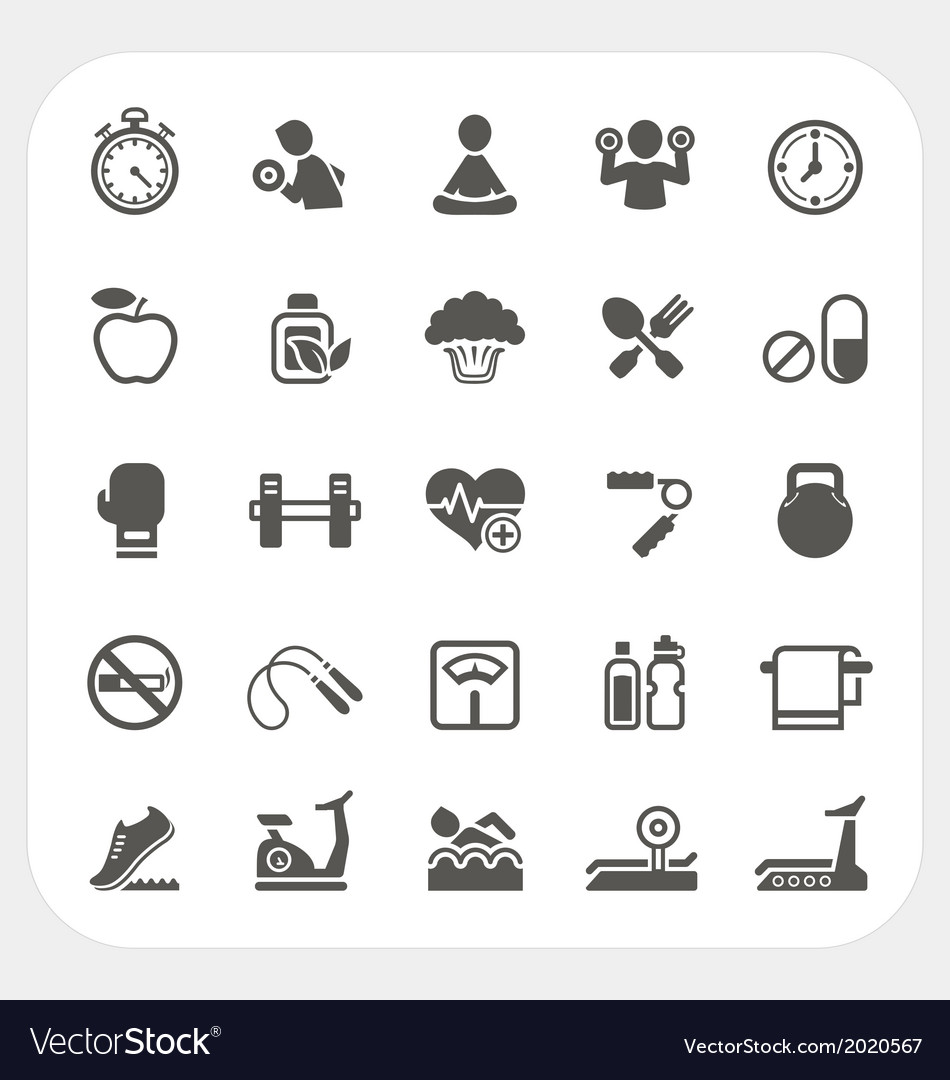 Health and fitness icons set vector | Price: 1 Credit (USD $1)