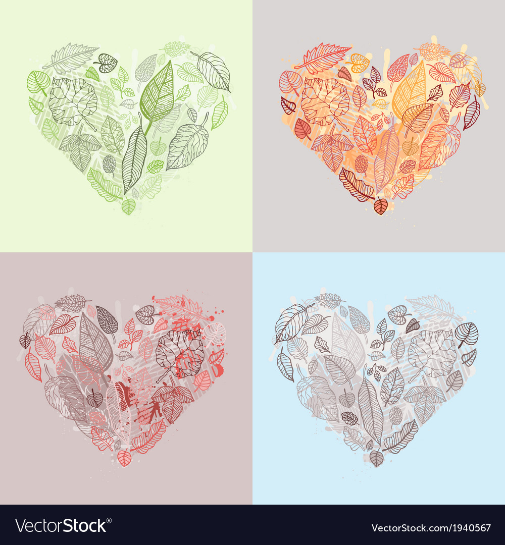 Heart of the leaves seasons background vector | Price: 1 Credit (USD $1)