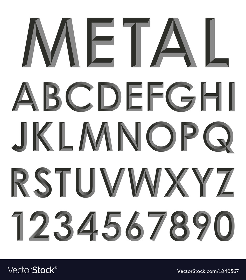 Metallic alphabet set vector | Price: 1 Credit (USD $1)