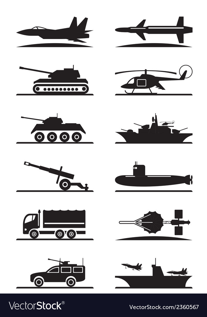 Military equipment icon set vector | Price: 1 Credit (USD $1)