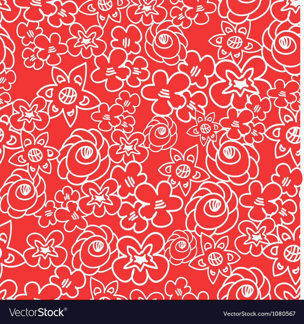 Ornate floral endless red pattern vector | Price: 1 Credit (USD $1)