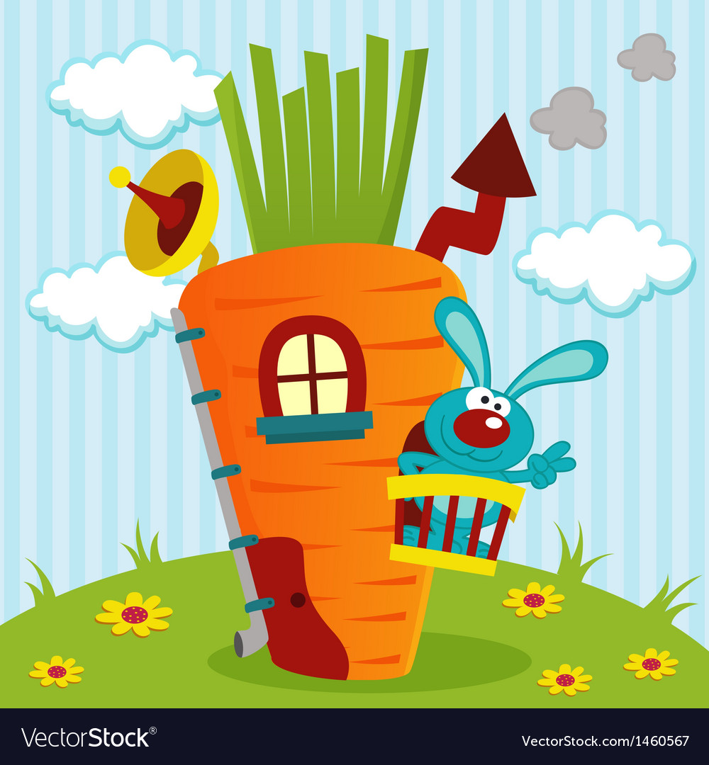 Rabbit in house of carrots vector | Price: 3 Credit (USD $3)