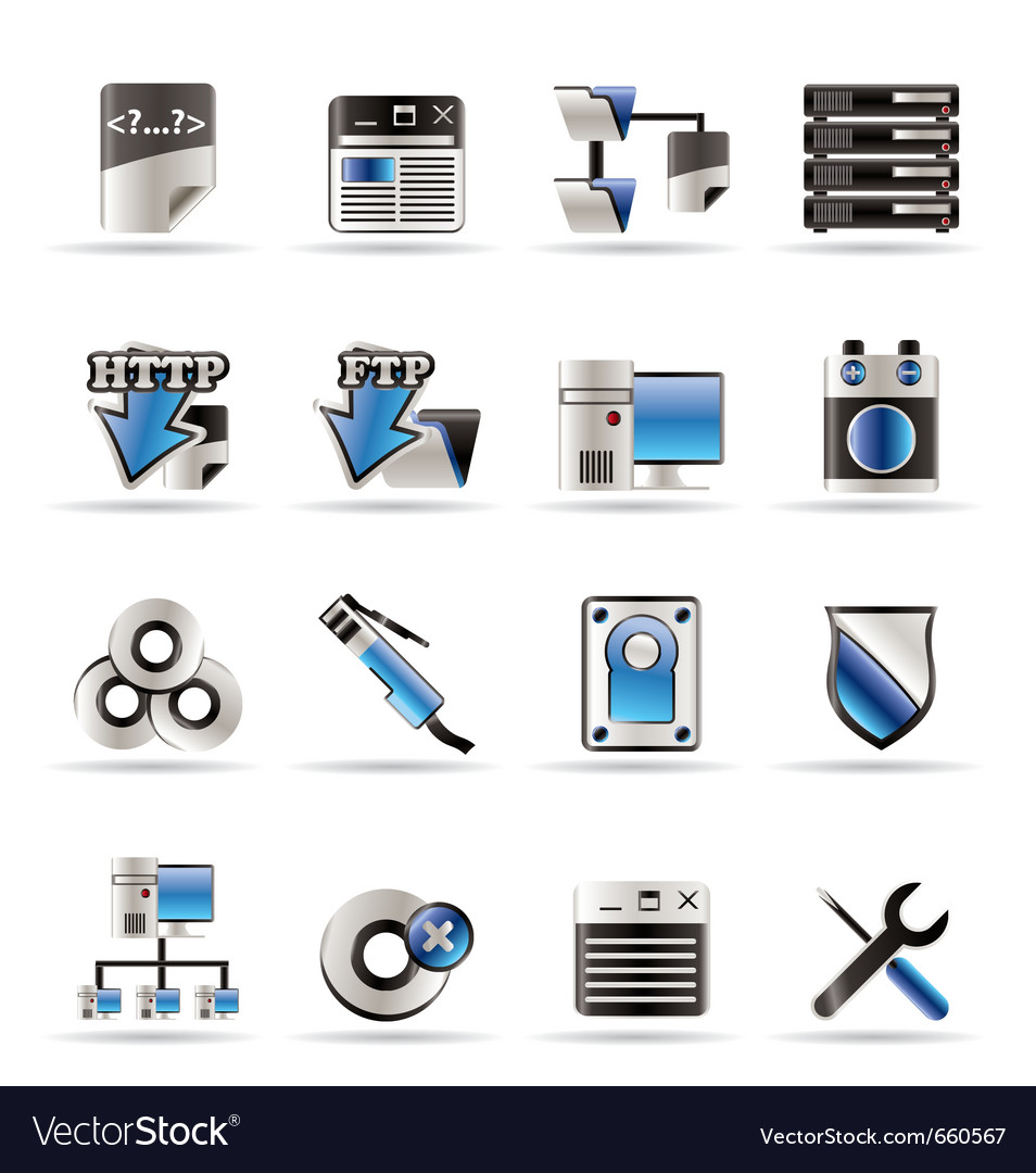 Server side computer icons vector | Price: 1 Credit (USD $1)