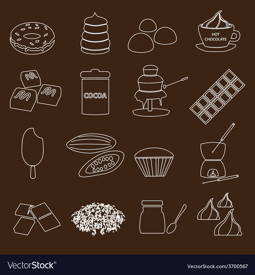 White and brown chocolate outline simple symbols vector | Price: 1 Credit (USD $1)